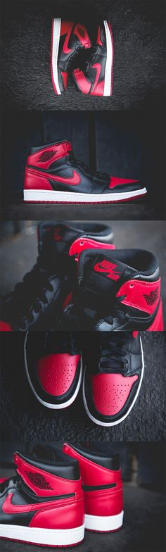 "Air Jordan 1 Retro - ""Bred"" I have these in blue my bff wants them . Me Too Shoes, Men's Shoes, Shoe Boots, Roshe Shoes, Nike Outfits, Zapatillas Jordan Retro, Iphone 5c, Jordan 1 Retro High, Men Sneakers"