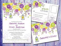 #Berries Mix #Flowers and #Cage #Wedding #Invitation by WeddingSundae #card #bird cage #Postcard