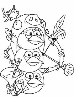 Angry birds epic coloring page - blue birds