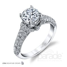Breath-taking from every angle, the LYRIA Signature Crown presents a brilliant center stone wrapped in rows of sparkling white diamonds and intricate filigree detailing. Diamond Info: CTS Fits center stone size RD: MM GUIDE Center stone not included. Crown Engagement Ring, Vintage Inspired Engagement Rings, Designer Engagement Rings, Stone Wrapping, Colored Diamonds, White Diamonds, Luxury Jewelry, Fashion Rings, Wedding Bands