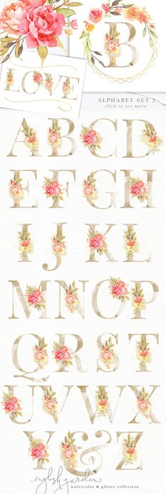 English Garden Watercolor Bundle by Eclectic Anthology on Creative Market - Floral designs letters Nature Illustration, Floral Illustrations, Watercolor Background, Watercolor Flowers, Mandala Creator, Hand Lettering Alphabet, Calligraphy Letters, Floral Letters, Beautiful Wedding Invitations