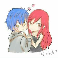 Jellal, Erza, couple, cute, text, hearts, blushing; Fairy Tail