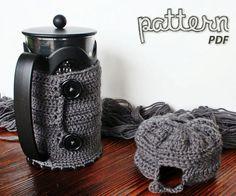 Crochet Pattern - Starbucks (Bodum Kenya 8-cup) French Press Coffee Maker Cozy - PDF. $5.00, via Etsy.