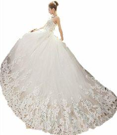 LUXE WT26 Wedding Birde dress Train Satin Lace Flower Wedding Dress designer dres6 (8, WHITE) LondonProm http://www.amazon.co.uk/dp/B00KRHCXE2/ref=cm_sw_r_pi_dp_7s0Jtb08QN7M53MG