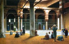 Jean-Léon Gérôme, Interior of a Mosque, c.1875, Oil on canvas, 57,5 x 89 cm, Memorial Art Gallery of the University of Rochester