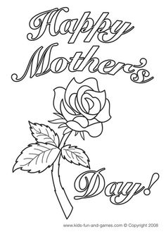 happy mothers day coloring card - Printable Drawings For Kids