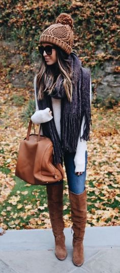 Fall Style // Cozy knit beanie and OTK boots.