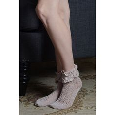 Leto Ruffle Lace Anklet Sock ($5) ❤ liked on Polyvore featuring intimates, hosiery, socks, rose, anklet socks, lace anklet socks, lace hosiery, lace socks et ruffle socks
