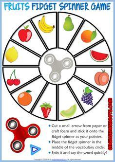 Fruits ESL Printable Fidget Spinner Game For Kids