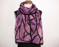 Wide nuno felt scarf: Black curvilinear lines on plum dyed silk