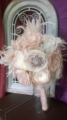 Bridal Bouquet Rhinestones and Feathers Gatsby themed wedding This romantic fabric flower bouquet has a combination of my fabric flowers with rhinestones in the middle of the flowers and feathers thro Great Gatsby Wedding, 1920s Wedding, Our Wedding Day, Dream Wedding, Wedding Dreams, Wedding Season, Wedding Brooch Bouquets, Flower Bouquet Wedding, Floral Wedding