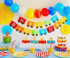 Happy Birthday Boy, Blue Birthday Parties, Birthday Themes For Boys, Rainbow Parties, Rainbow Birthday Party, 1st Boy Birthday, Diy Birthday Banner, First Birthday Party Decorations, Diy Party Decorations