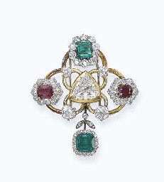 A DIAMOND, EMERALD AND RUBY BROOCH, MOUNTED BY RENÉ BOIVIN. Designed as a triangular-shaped diamond to the trefoil gold openwork set with two oval-shaped ruby and old-cut diamond cluster and one rectangular-shaped emerald and old-cut diamond cluster details suspending an octagonal-shaped emerald pendant within a diamond surround, circa 1945.