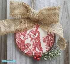Rustic Christmas Ornament with Wood, Toile, and Burlap