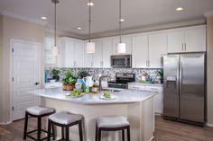 Alcantara Villas, a KB Home Community in Phoenix, AZ (Phoenix) Plan 1965 Kitchen White Kitchen Cabinets, Kitchen Dining, Dining Rooms, Home Kitchens, Dream Kitchens, Kb Homes, Phoenix Homes, New Home Builders, New Homes For Sale