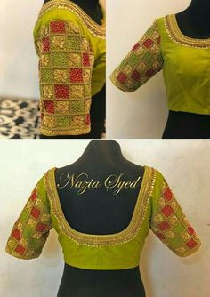 Green Red Checkered Bridal Blouse by Nazia Cutwork Blouse Designs, Kids Blouse Designs, Hand Work Blouse Design, Pattu Saree Blouse Designs, Simple Blouse Designs, Blouse Back Neck Designs, Bridal Blouse Designs, Blouse Patterns, Maggam Work Designs