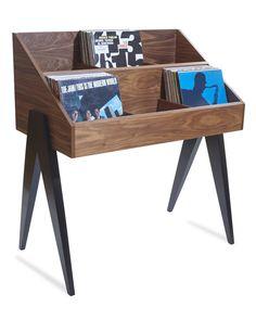 Atocha Design Record Stand in Walnut with Ebonized Walnut (black) legs
