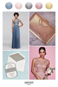 Metallics bring sophisticated shine to your wedding day. Find more shimmering options and create the palette of your dreams at davidsbridal.com.