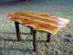 Log table made from cedar slabs from mills in Oregon. This is cool.
