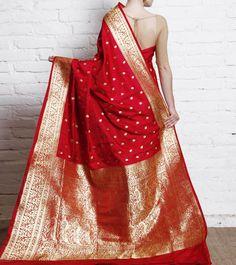 Maroon Katan Silk Banarasi Saree