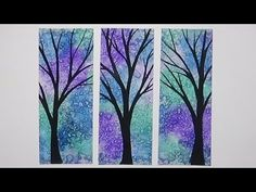 Watercolour Bookmarks - Painted Trees - Salted Background