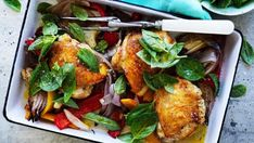 This simple summery bake is an easy dinner that combines the natural affinity of basil and capsicum with succulent roast chicken.