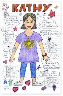 Art Projects for Kids: Doodle Summer Self Portrait. Good for Back to School art project.