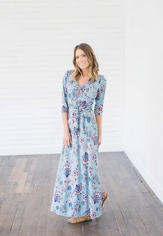 This Himalayan Blue Printed Maxi Wrap Dress is a dream come true! The gorgeous floral print features beautiful pattern, deep blues and burgundy. You will be looking for any excuse to show this wrap dress off.  This dress is perfect for anything from a casual date night to a summer day event. Our wrap dresses are one of the most comfortable dresses you'll ever own. || Bella Ella Boutique    Himalayan Blue Printed Maxi Wrap Dress Bella Ella Boutique Online Store