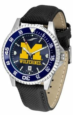 Michigan Wolverines Competitor AnoChrome Men's Watch with Nylon/Leather Band and Colored Bezel by SunTime. $85.45. Showcase the hottest design in watches today! A functional rotating bezel is color-coordinated to compliment the NCAA Michigan Wolverines logo. A durable, long-lasting combination nylon/leather strap, together with a date calendar, round out this best-selling timepiece.The AnoChrome dial option increases the visual impact of any watch with a stunning radial ref...