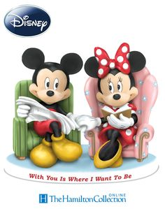 Mickey and Minnie share a sweet moment together in this hand-sculpted, hand-painted figurine.