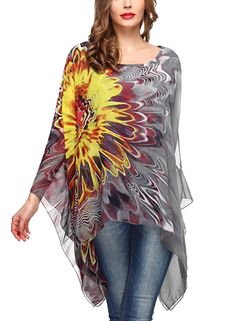 DJT Womens Floral Printed Chiffon Caftan Poncho Tunic Top One Size Grey: Size Guidebr One Size: Length Sleeve Length Neck Width Hem br Size Guide for style One Size: Length Sleeve Length Neck Width Hem br Please allow differs due to manual measurement. I Love Fashion, Passion For Fashion, Womens Fashion, Style Casual, Casual Outfits, Bohemian Design, Floral Chiffon, Loose Tops, T Shirts