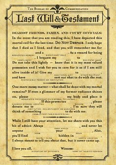 Mad-Libs style Last Will and Testament... SO funny! And this site has more!!!!