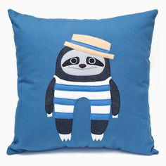 Herbert  Friends – Bathing Sloth Cushion. Handmade using wool felt, cotton fabric and recycled PET insert • Available at thebigdesignmarket.com