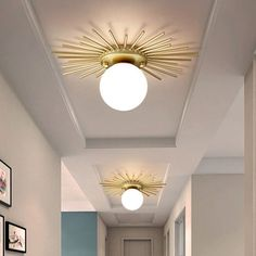 Spherical Flush Mount Lighting with Frosted Glass Shade Minimalism 1 Bulb Ceiling Mounted Fixture in Gold - 110V-120V Gold Chandelier Lighting Fixtures, Flush Mount Lighting, Pendant Light Fixtures, Glass Chandelier, Ceiling Light Fixtures, Globe Ceiling Light, Glass Ceiling Lights, Wall Lights, Home Ceiling