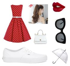 """Modern 50s outfit"" by arutila on Polyvore featuring Vans, Pin Show, Dolce&Gabbana, CÉLINE, Totes, modern, women's clothing, women, female and woman"