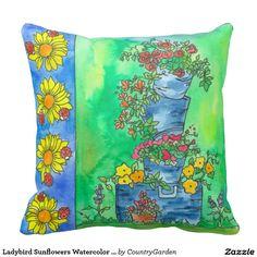 Ladybird Sunflowers Watercolor Flowers Garden Throw Pillow