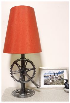 Recycled bike parts lamp base