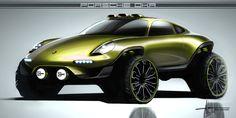 Porsche DKR Concept Design Sketch by Alan Derosier Car Design Sketch, Car Sketch, Super Sport Cars, Automotive Design, Auto Design, Car Drawings, Transportation Design, Japan, Fast Cars