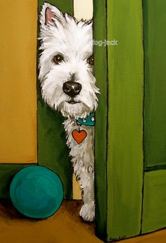 """Reminds me of Penny. Not a Schnauzer but a distant cousin.West Highland Terrier Westie Matted Print Painting """"Sneaking A Peek"""" Dog Randall West Highland Terrier, Highlands Terrier, Westies, Westie Dog, Art Trading Cards, White Dogs, Dog Portraits, Print Artist, Animal Paintings"""