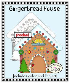 Freebie! Clip art Gingerbread House - Includes color and line art. http://www.teacherspayteachers.com/Product/Freebie-Clip-Art-Gingerbread-House-1015603