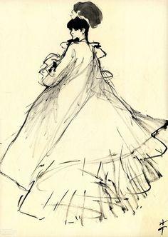 1963 Study for Diorling, Christian Dior perfume - René Gruau