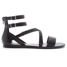 Forever 21 Women's  Strappy Faux Leather Sandals ($25) ❤ liked on Polyvore featuring shoes, sandals, flats, footwear, forever 21 flats, strappy sandals, platform faux leather sandals, strappy platform sandals and platform flats