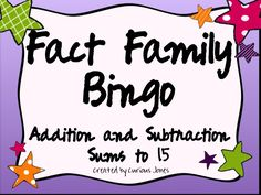 You will love completing your fact family unit with these two versions of Fact Family Bingo. In Version One, students will find the related equation that matches the one that you pull out of the hat. In Version Two, students complete the equations, partners correct their answers, then find the related equation that matches the one that you pull out of your hat. Only $3.95!