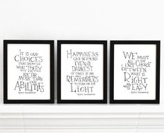 Set of 3  Harry Potter movie quote posters by SimpleSerene on Etsy, $34.00. Would be super easy to DIY!
