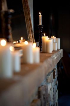 candles & fireplace