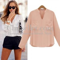 ChicSeller Long Sleeve V Neck Pink Chiffon T Shirt