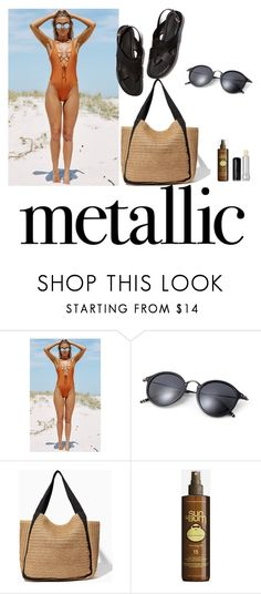 """You're Golden: Metallic Swimwear"" by beakragh on Polyvore featuring Sun Bum, Marc Jacobs and metallicswimwear"