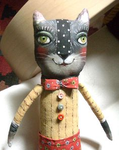 black cat folk art doll by Emilia Perussi