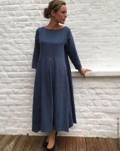 Платья ручной работы. Ярмарка Мастеров - ручная работа. Купить Небеса. Handmade. Льняное платье, Синее платье, повседневное платье