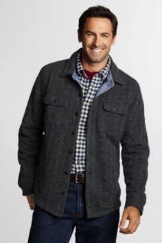 Men's Sweater Knit Shirt Jacket from Lands' End